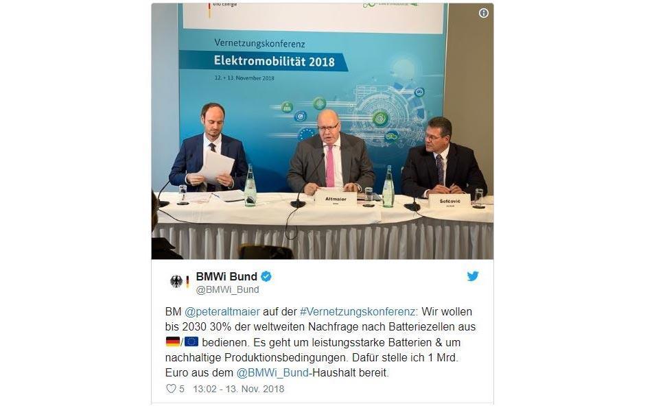 Batteriezellproduktion BMWi Altmaier Twitter