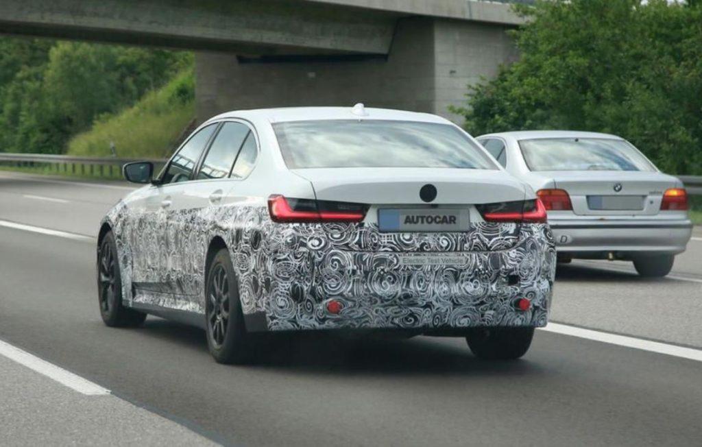 Heckansicht vom Prototypen des elektrischen BMW 3er
