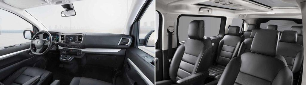 links: Blick auf das Cockpit des Opel Zafira-e Life, links: Blick in den Passagierraum
