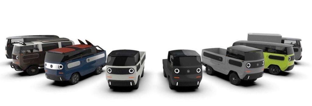 Fahrzeugpalette mit 8 verschiedenen Varianten des eBussy aufgereiht