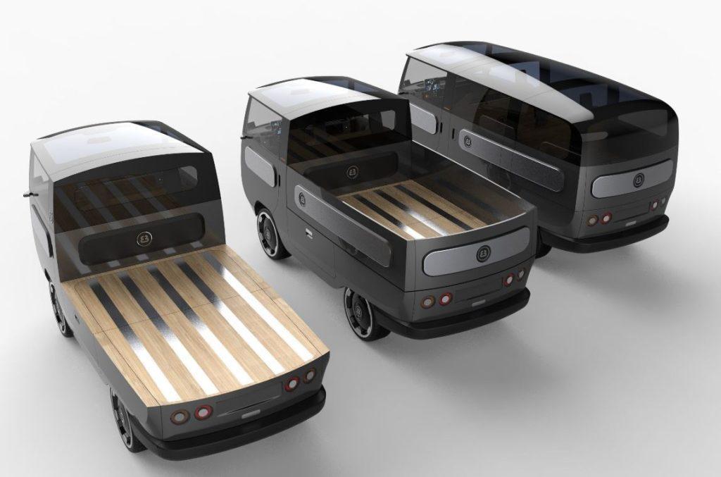 Drei verschiedene Aufbauten des eBussy Elektrofahrzeugs in der Perspektive von hinten