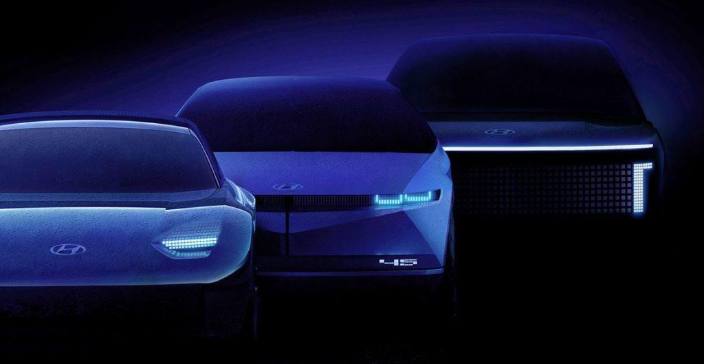 Umrisse der drei kommenden Hyundai Ioniq Elektroautos