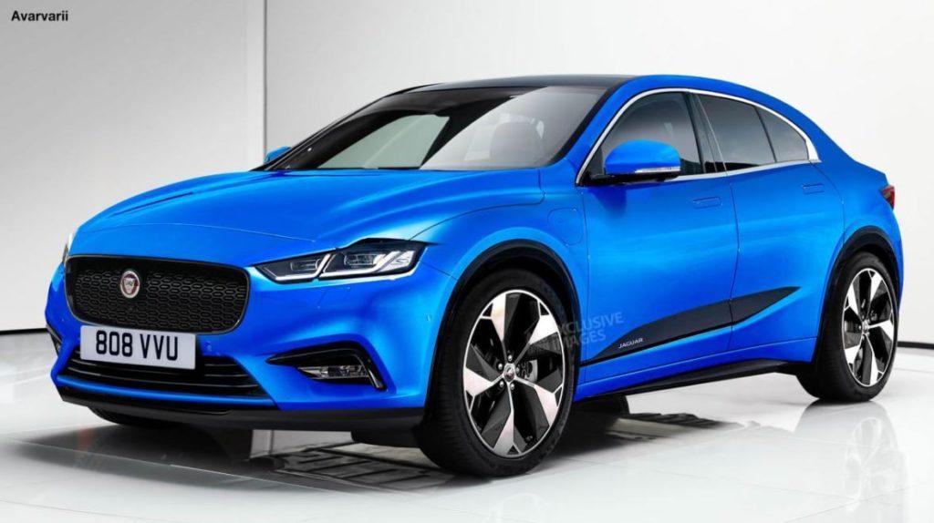 Entwurf einer kompakten Jaguar E-Limousine Vollansicht aus seitlicher Vorderperspektive