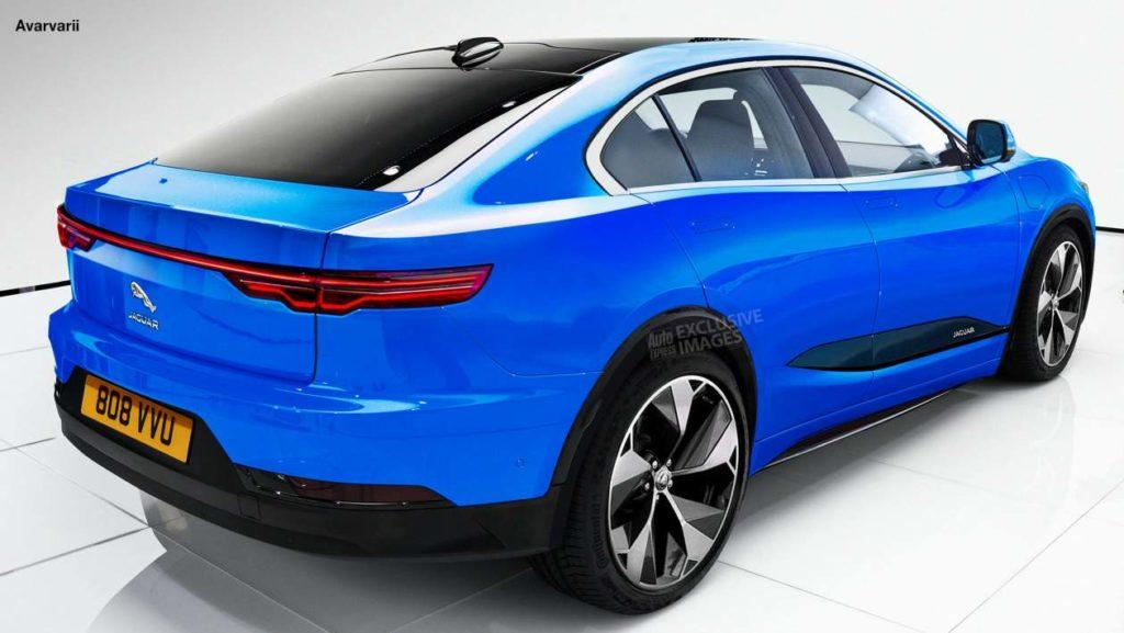 Entwurf einer kompakten Jaguar E-Limousine Ansicht von rechts hinten