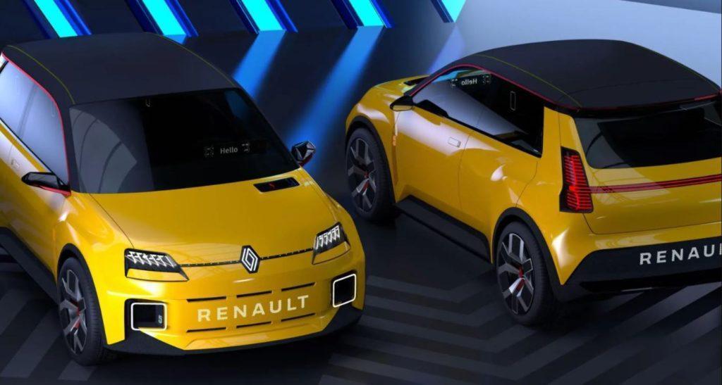 Renault 5 Prototype zwei Modelle nebeneinanderstehend mit Frontansicht und Rueckansicht