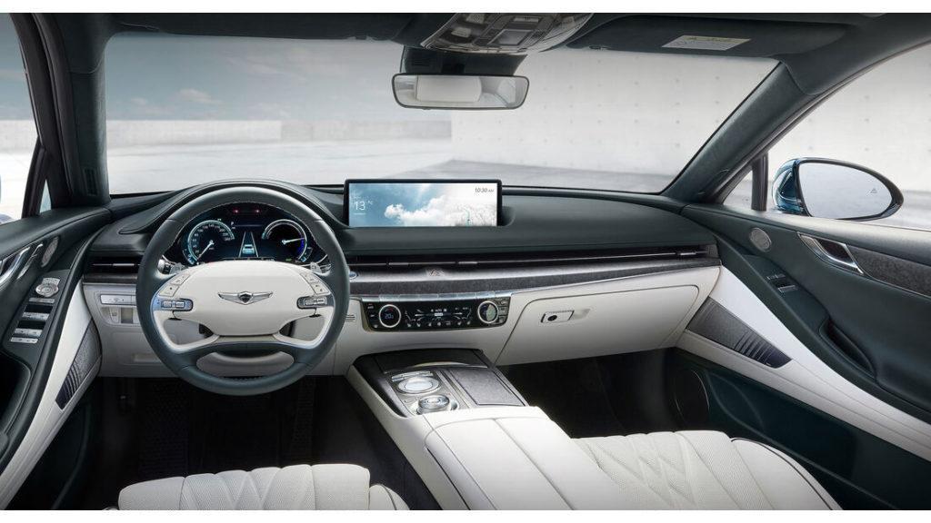 Innenraum des Elektroautos Genesis Electrified G80