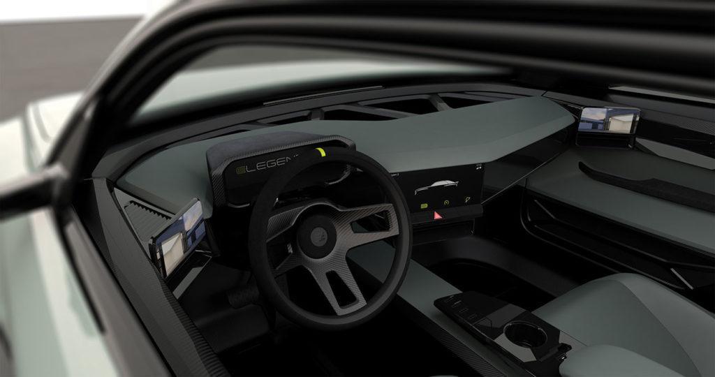 Minimalistischer Innenraum des elektrischen Sportwagen E-Legend EL1