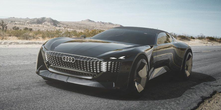 Front des Elektroautos Audi Skysphere Concept auf der Straße