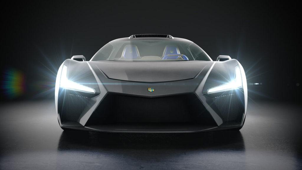 Virtuelles Bild der Front des schweizer Hypercars Morand Cars