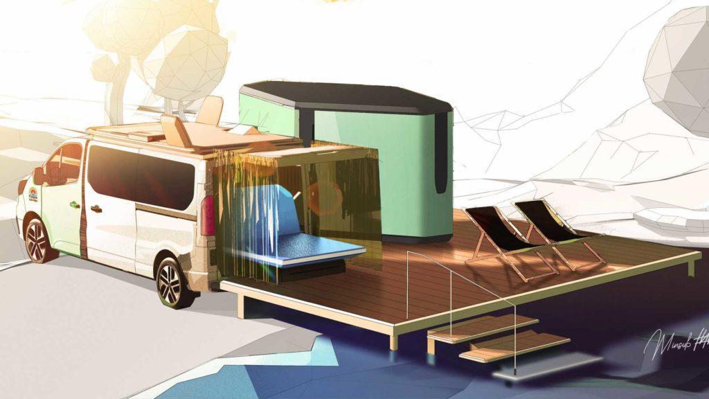Designzeichung des elektrischen Glamping-Vans Renault Hippie Caviar Hotel mit Doppelbett außen