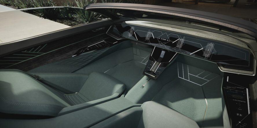 Innenraum des Elektroautos Audi Skysphere Concept mit eingefahrenem Lenkrad und Wählhebel