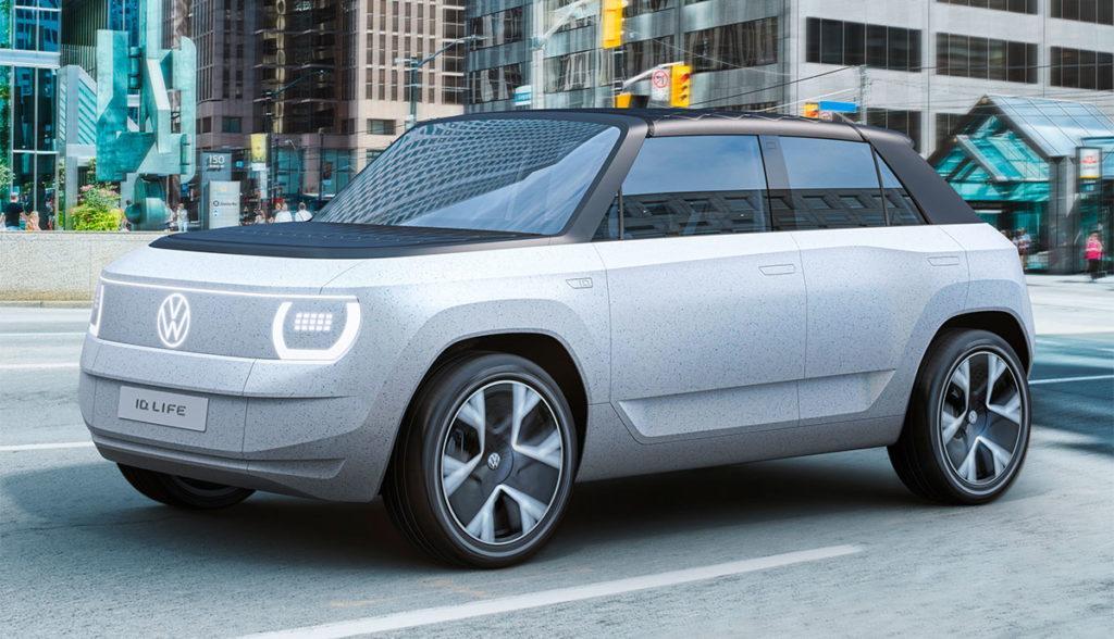 Außenansicht des Showcars VW ID. Life mit kantigen Linien in grau