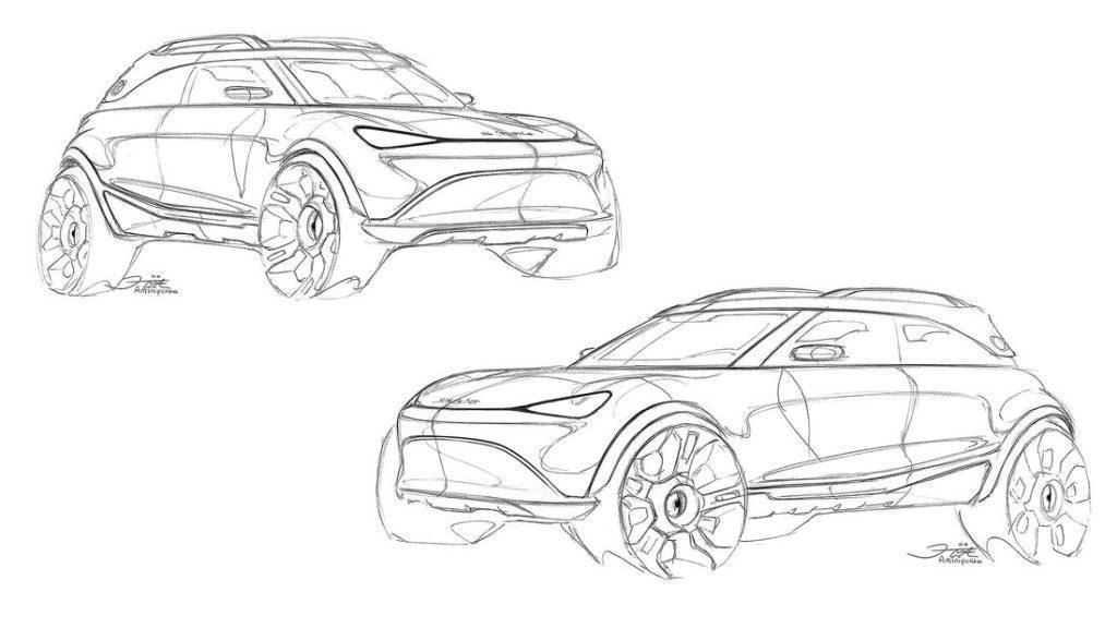 Technische Zeichnung des geplanten Elektro-SUV von Smart
